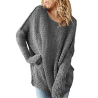 Casual Loose Women Clothing Long Sleeve Knitted Pullover Christmas Sweaters Sexy Autumn Winter O-neck Knitwear Jumper Pull Femme