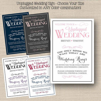 Unplugged Wedding Sign Printable // Wedding Ceremony Decor // Personalized