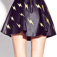 Shocking Faux Leather Skater Skirt