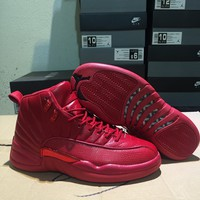 Air Jordan 12 Retro All Red Sneaker Shoes Size 40-47