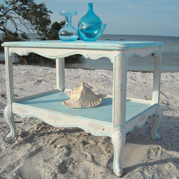 Vintage French Shabby Chic Table Wood Painted Distressed White Aqua Blue Seaside Coastal Cottage