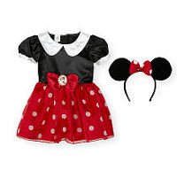 Disney Girls 2 Piece Red/Black Minnie Mouse Halloween Costume with Mouse Ears - Toddler
