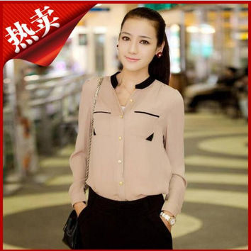 New 2016 summer style Fashion Color Stand Collar Shirt chiffon Ruffle Tops Female Long-sleeve Blouse Women Work Wear hot sale