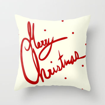 Merry Christmas Throw Pillow by The Rag Doll Girl