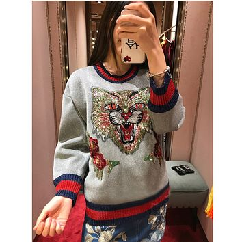 GUCCI Gray Glossy Striped Embroidered Stereo Flower Cat Sweater Sweater