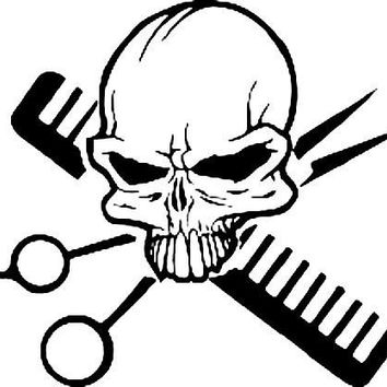 Barber Skull Crossbones  Vinyl Car/Laptop/Window/Wall Decal
