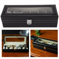 Luxury 6/3 Grid Leather Jewelry Box Watch Display Collection Storage Case Watch Organizer Box Holder