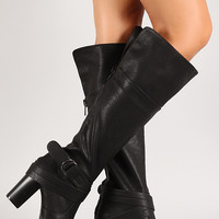 Criss Cross Strap Chunky Heel Knee High Boot