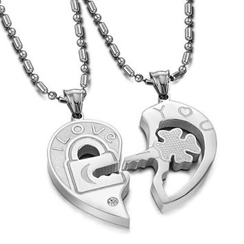 Interlocking His and Hers Irish Clover Key I Love You Matching Dangling Charm Pendant Silver Titanium Necklace (Size: Single, Color: White) = 1929916548
