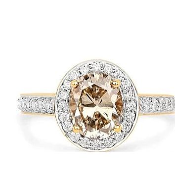 18K Yellow Gold Ethically Mined 2.18CT Oval Cut Chocolate Diamond Halo Engagement Ring