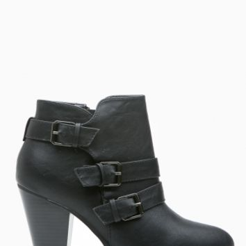 Black Faux Leather Chunky Buckle Up Booties @ Cicihot Boots Catalog:women's winter boots,leather thigh high boots,black platform knee high boots,over the knee boots,Go Go boots,cowgirl boots,gladiator boots,womens dress boots,skirt boots.