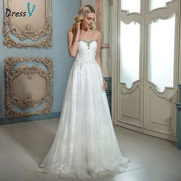 Dressv sweetheart beading lace wedding dress ivory A-line sweep train long outdoor hall sexy off the shoulder lace wedding dress
