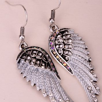 SHIPS FROM USA Angel wings dangle earrings antique gold silver color W crystal women biker bling jewelry gifts EC23