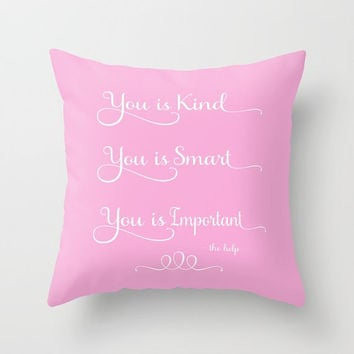 Daughters Pillow, Movie Quote, You is Kind, You is Smart, You is Important, Self Esteem, Confidence, Girls Bedroom, Purple Pillow, mothers