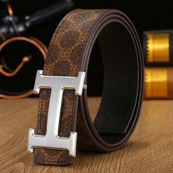Hermes 2018 new trend classic smooth H letter buckle pants belt Gold