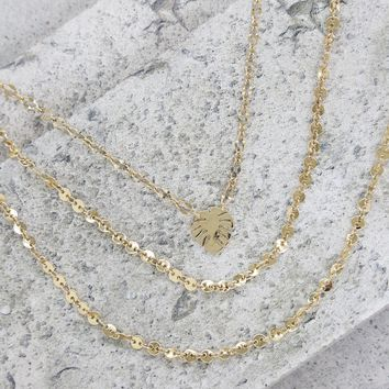 Palm Leaf Layered Necklace in Gold