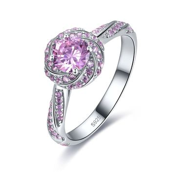 Merthus 1.1ct Pink Topaz Flower Shaped Solitaire Halo Promise Engagement Ring 925 Sterling Silver