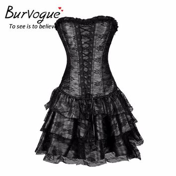 a2e211b3d4c Burvogue Sexy Steampunk Corsets and Bustiers Burlesque Gothic Lace  Steampunk Corset Dress Plus Size Costume Floral