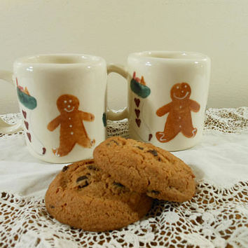 Two Christmas Gingerbread Man Mugs, Gingerbread Man Demitasse Cups, Hartland Pottery Children's Holiday Hot Cocoa Mugs