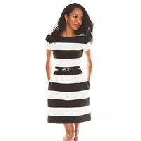 ELLE™ Striped Fit & Flare Ponte Dress