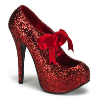 Red Glitter Bow Front Holiday Heels