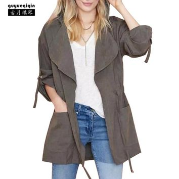 Guyueqiqin Fashion Belt Hooded Trench Coat Women Solid Color Pockets Femme Coats 6 Colors Thin Long Sleeve Famale Outerwears XL