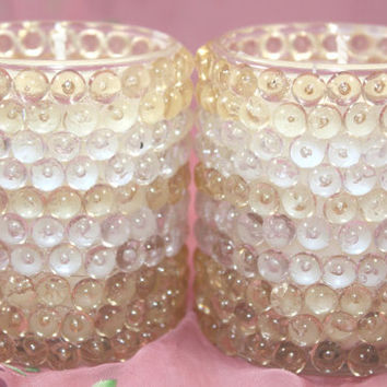 Soy Wax Votive Candles, Choose YOUR OWN SCENT, Pair of Homemade, Hand Poured Votives Decorated With Clear and Gold Rings of Plastic Pellets