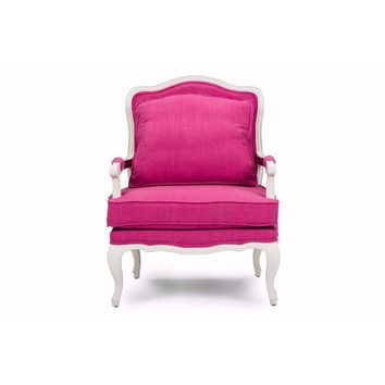Antoinette Classic Antiqued Pink Fabric French Accent Chair By Baxton Studio