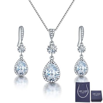 Elegant Jewelry Set for Women - AMYJANE Silver Teardrop Clear Cubic Zirconia Crystal Rhinestone Drop Earrings and Necklace Bridal Jewelry Sets Best Gift for Bridesmaids 5000+ Instagram Like B: Earrings and Necklace Jewelry Set