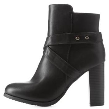 Black Belted Chunky Heel Booties by Charlotte Russe