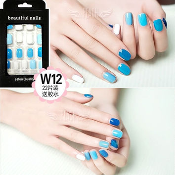 Blue series fresh  pure color false nails kit with glue Cute Japanese fake nails acrylic Bride short size full design nail tips fashion false nails set 24pcs (Color: Multicolor)
