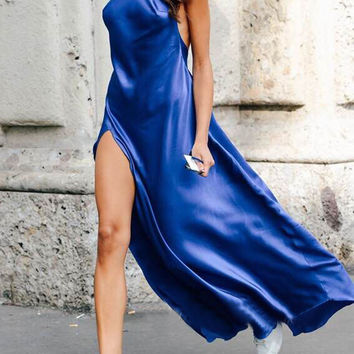 Royal Blue Halter Backless Slit Side Maxi Dress