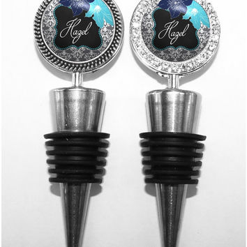 A211 - Personalized Blue and Gray Damask and Flowers Wine Stopper