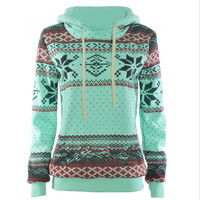 Loose printed long - sleeved thick hooded sweater Green