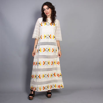 60s Colorful EMBROIDERED MAXI / Crochet Bell Sleeve Mexican Cotton DRESS, s-m