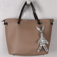 Pebbled Vegan Leather Bunny Keychain Tote Bag