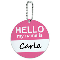 Carla Hello My Name Is Round ID Card Luggage Tag