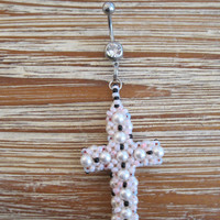 Belly Button Ring - Body Jewelry -Beaded Cross with Clear Blue Gem Stone Belly Button Ring