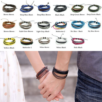 Adjustable Punk Men Synthetic Leather and Hemp Rope Wrap Bracelet Cuff Jewelry Bangles pulseiras masculina(10pcs just need 4.2$)