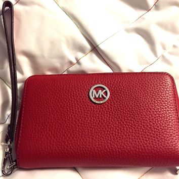 Michael Kors 35H5SFTE3L RED Fulton Large Flat Multifunction Wristlet Phone Case