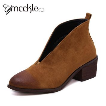 women nubuck leather pointed toe booties ladies fashion deep v front chunky med heel  number 2