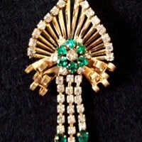 Vintage M & S Goldtone Green and White Rhinestone Brooch