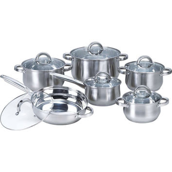 12 Piece Stainless Steel Cookware Set With Casseroles Frying Pan & Saucepan