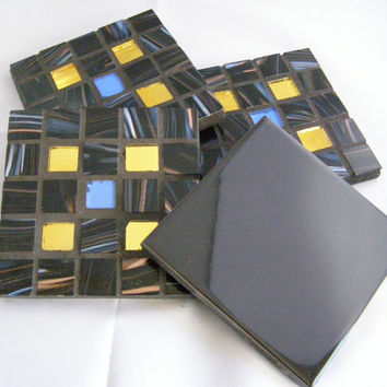 Black Glass Coasters, Christmas, Holiday Gift, Trivets, Black Decor,  Housewarming,  Hostess Gift, Home Decor, Mosaic, Unisex gift