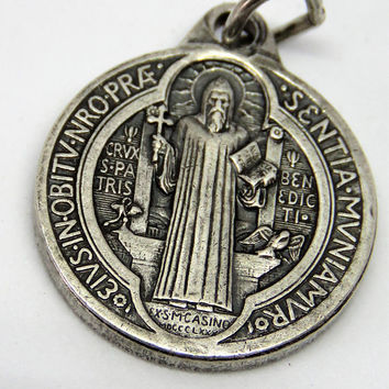 Vintage French, St. Benedict, Medal, Pendant
