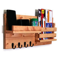 Farmhouse Rustic Mail Organizer with Slotted Bin - 4 Key hook Style - Stained Version