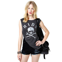 Summer Sleeveless T-shirts Womens Tops 2016 New Arrival Women Hand RIDE Skull Print Tee Harajuku Hip Hop Plus Size