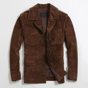 men's brown causal suede jacket with four front pockets spring slim fit suede coat for men soft sheepskin leather jacket male