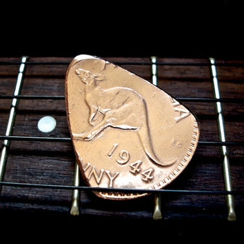 Australian Coin Guitar Pick -- 1944 Australian Penny -- Bass/Jazz Guitar Picks -- OOAK