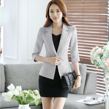 Formal Uniform Design Professional Business Women Suits With Jackets And Dress 2016 Spring Summer Office Ladies Blazers Outfits